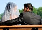Photo de mariage banc de parc