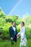 Photo de mariage arc en ciel